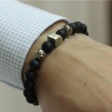 Pyrite Mens Bracelet noir mat Agate perles Stretch Bracelet hommes Bracelets bijoux Mala Bracelets Erkek Bileklik perles hommes
