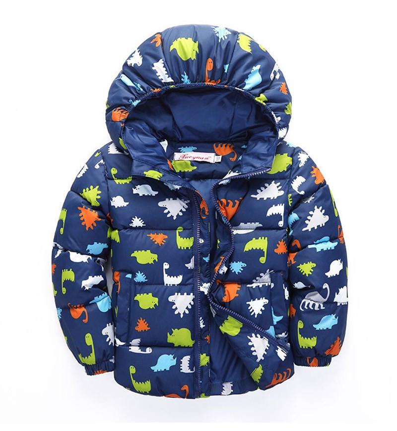80-120cm Dinosaur Winter Kids Boy Jacket Cotton Outerwear Baby Boy Padded Jacket Children Winter-Clothing Hooded Kids Coat (7)