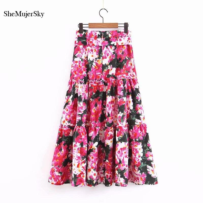 SheMujerSky Women Red Floral Maxi Skirt Summer Long A-line Skirt With Belt High Waist Skirts 2019 Falda Larga