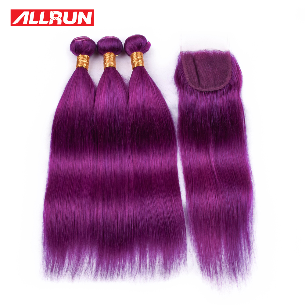 ALLRUN Hair Brazilian 3 Bundles Purple Color Straight Remy Hair With 4*4 Lace Closure 100% Human Hair Extensions Weave 4 Pcs/lot
