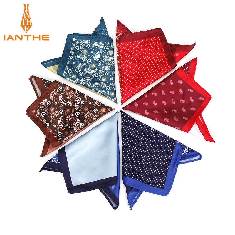 Men's Brand Handkerchief Vintage Paisley Dot Solid Pocket Square Soft Silk Hankies Wedding Party Business Hanky Chest Towel Gift