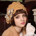 Women Winter Casual Korean Version Of Beret cap Cute Flowers Thick Wool Hat Womens Knit Hats