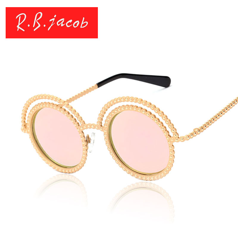 Round Retro 50S Sunglasses Medieval Luxury Concept Women Pearl Rhinestone Metal Frame Sun Glasses Beach Female UV400 Mirror