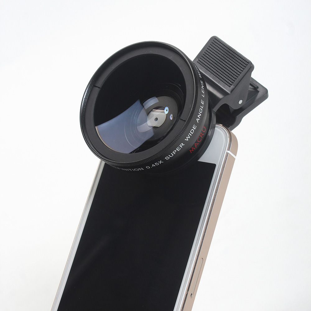 0.45X Super Wide Angle Lens Macro Smartphone Lens 37mm Digital High Definition For iphone 5s 6 xiaomi huawei samsung camera