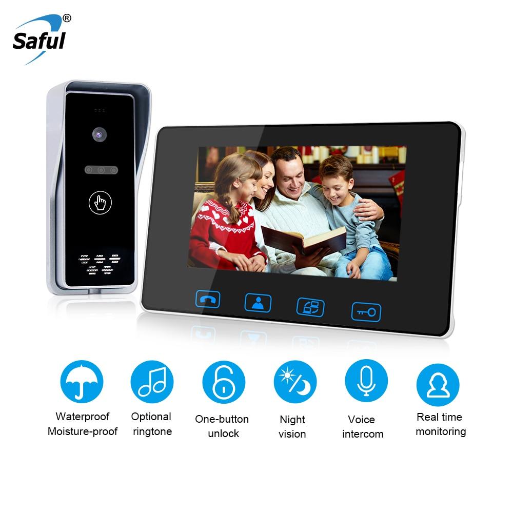 Saful New 7 Digital Waterproof Door bell Wired Color Video Door Phone with IR Night Vision Camera Vandal proof Intercom System