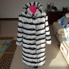 LIYAFUR New Designer 80cm Vintage Natural Rex Rabbit Chinchilla Fur Winter Long Coat Jacket with Fur Collar For Women hood