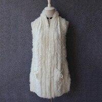 2017 mujeres Primavera de punto mantón de la piel del conejo para la moda femenina otoño chaleco cardigan de lana para las señoras al por mayor China gilet