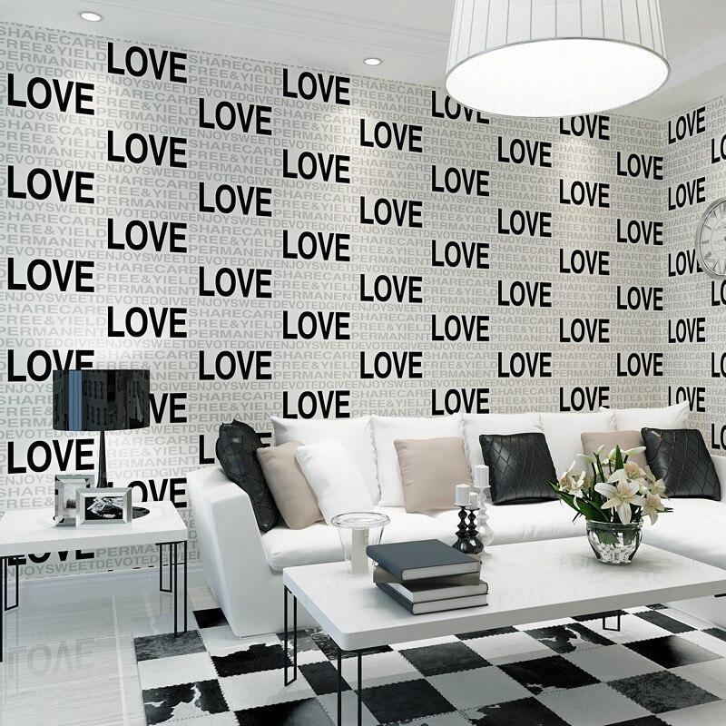 Flocage en relief noir amour anglais Alphabets 3d rouleaux de papier peint pour salon canapé fond 3d papier peint Mural autocollant 3d