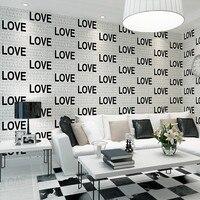 Embossed Flocking Black LOVE English Alphabets 3d Wallpaper Rolls For Living Room Sofa Background 3d Wall