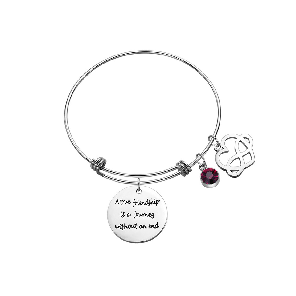 MGHONHDR Birth Flower Bracelet Birthday Birthstone Jewelry for Women Teen Girls Best Friends Stainless Steel Expandable Bangle