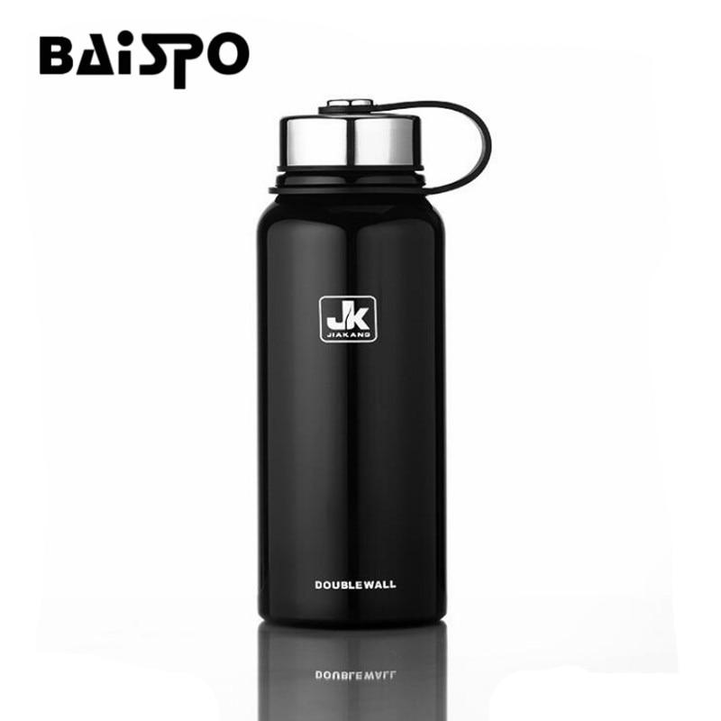 BAISPO bouteille d'eau En Acier Inoxydable Isolé Thermos Bouteille Thermos Grande capacité flacon pompe pour l'eau sport bouteille