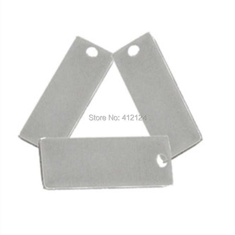 100 Pcs Silver Tone Stainless Steel Rectangle Blank Stamping Tags Charm Pendants Component 25x9mm N157