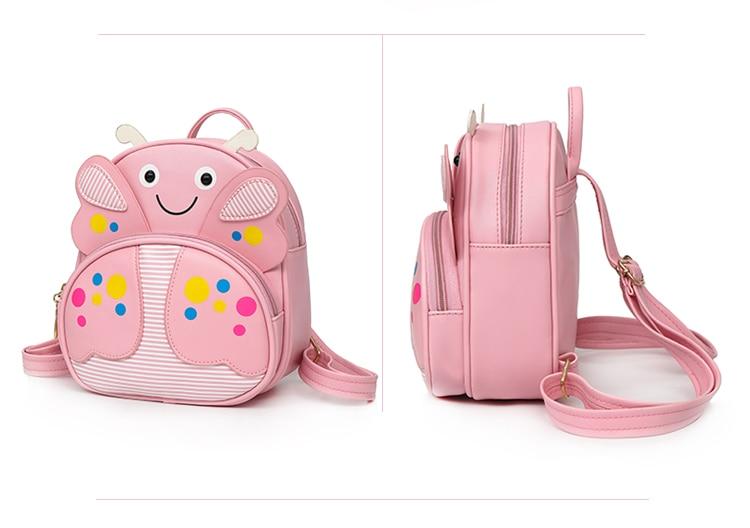 Mini Children PU leather Butterfly Backpack Kindergarten School Book Bag Bee Kawaii Pink Small Schoolbag For Toddler Kids Girls (60)