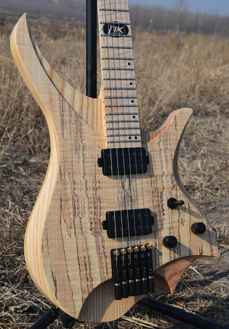 2019 NK Headless Electric guitar clear spalted curly maple top Flame Maple Neck black hardware Guitar free shipping