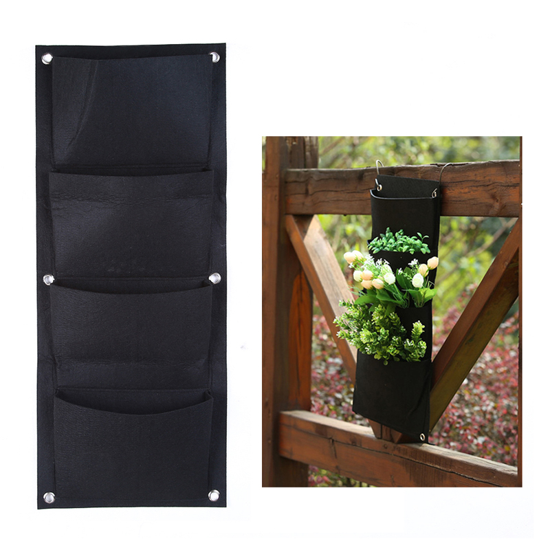 4 Pockets Planting Bags Outdoor Indoor Vertical Gardening