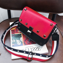 ETAILL High Quality PU Leather Crossbody Bags Fashion Rivet Design Women Flap Shoulder Bags Color Star Wide Strap Ladies Bag