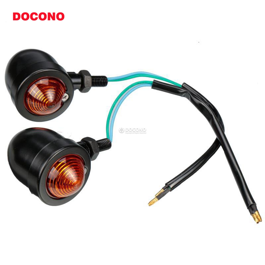DOCONO 2pcs Bullet Motorcycle Turn Signal Lamp Light 10mm for Harley Fatboy Chopper Bobber Cafe Racer Yamaha Suzuki Kawasaki