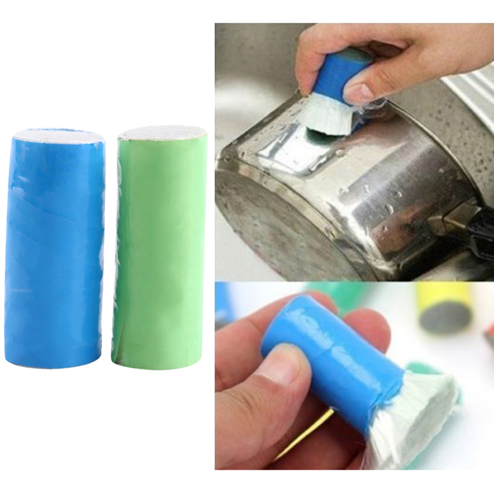 2pcs Stainless Steel Rod Magic Stick Metal Rust Remover Cleaning Stick Wash Brush Pot Kitchen
