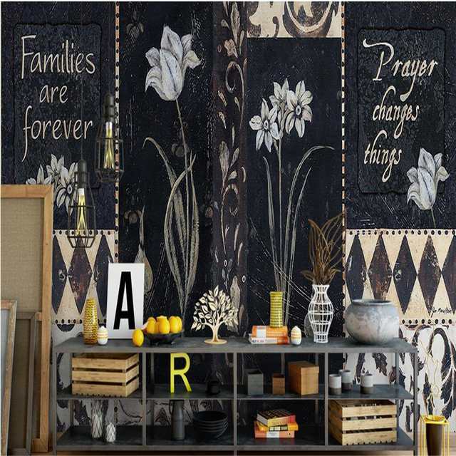 Beibehang Large Custom Wallpaper Mural European Style Handicraft Clical English Orchid High Back Wall Papers