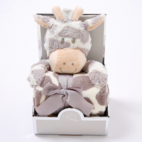 Cute Baby Blankets Newborn with Toys 100% Flannel Warm 2 Layers animal cartoon Swaddle Wrap Baby Bedding Blankets