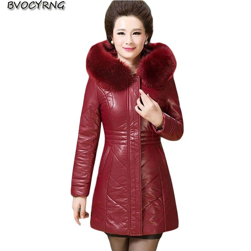 Autumn Winter New Thicken   Leather   Jacket Women Jacket   Leather   Parka Ladies Middle-aged Slim Coat Hooded Plus Size Fashion Parka