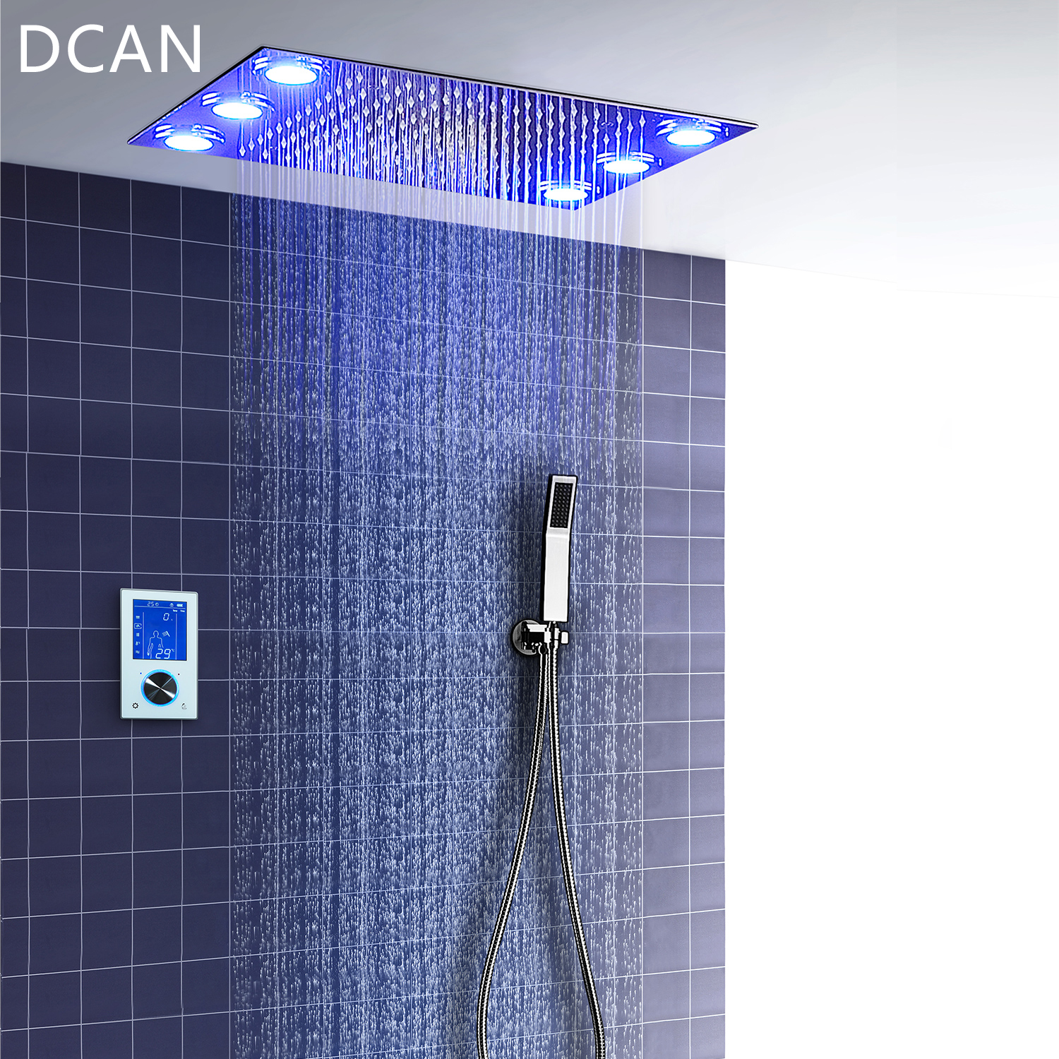 Digital Thermostatic Shower Set Controller Touch Control Panel Modern Luxury European Style Sus304 Rainfall Bathroom Ledceiling Ideal Gift For All Occasions