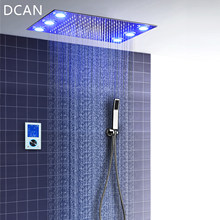 Digital Thermostatic Shower Set Controller Touch Control Panel Modern Luxury European Style SUS304 Rainfall Bathroom LedCeiling(China)