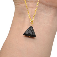 10pcs Women Aroma Essential Oil Diffuser Necklace Triangle Lava Necklace Natural Black Lava Beads Pendant With Gold Chain NS014