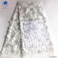 Beautifical net laces fabrics 2019 high quality white lace dresses with beads fabrics lace for women 5yards/lot ML35N76