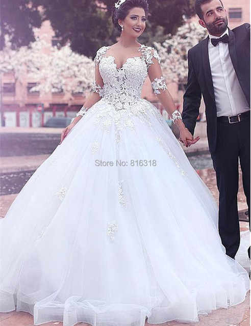 New Designer Lace Ball Gowns Princess Wedding Dresses Long Sleeves ...
