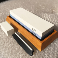 Whetstone Knife Sharpener Dual Sided 1000/6000 Grit Combination Knife Sharpening Water Stone for Kitchen 180*60*30mm