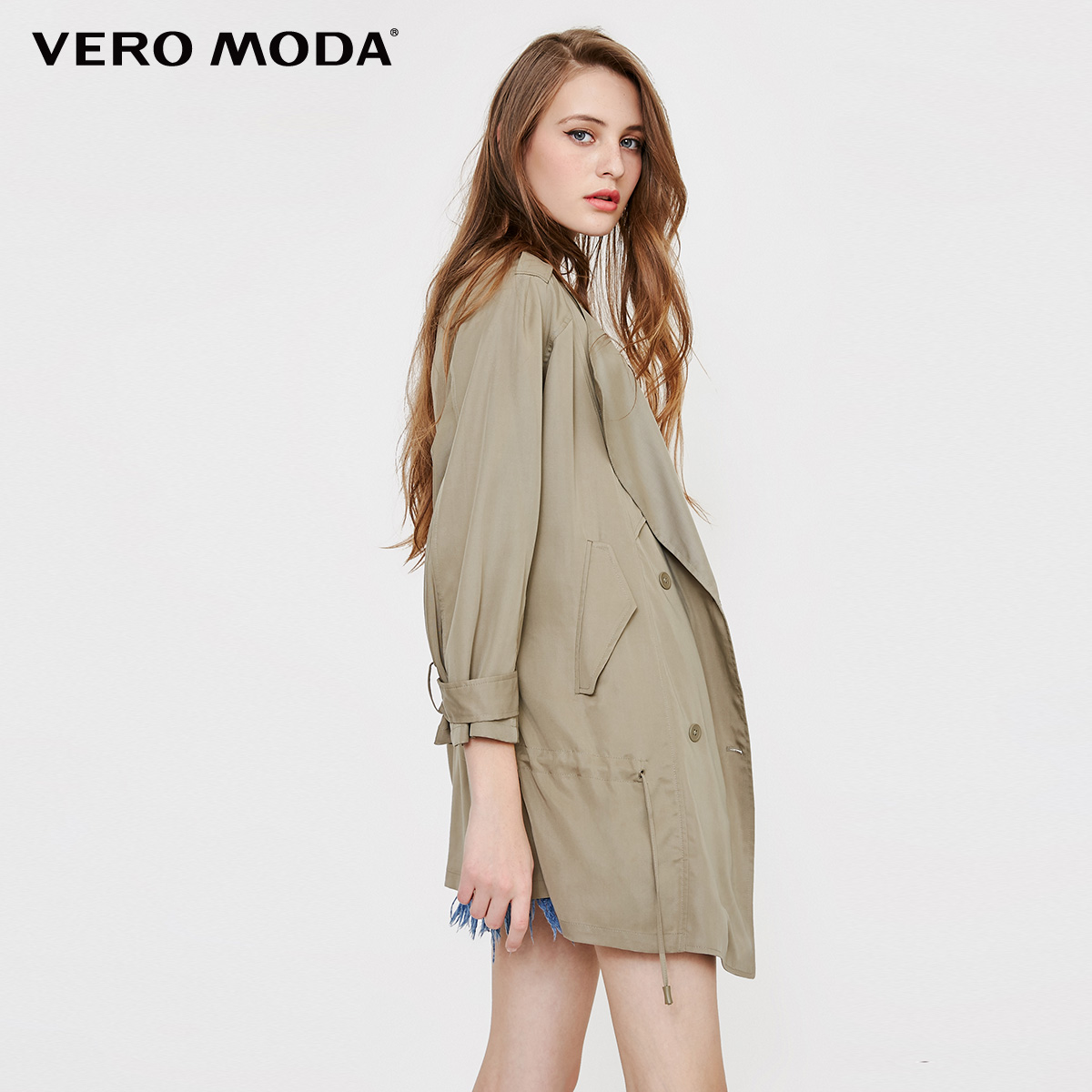 Vero Moda Autumn casual style trench coat dropping tie up middle length  wind coat  1136e068fa