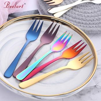 7 шт красочные 18/8 нержавеющая сталь фрукты вилка кухонный набор столовые приборы вилка для торта, десертная посуда для закусок чайная столо...