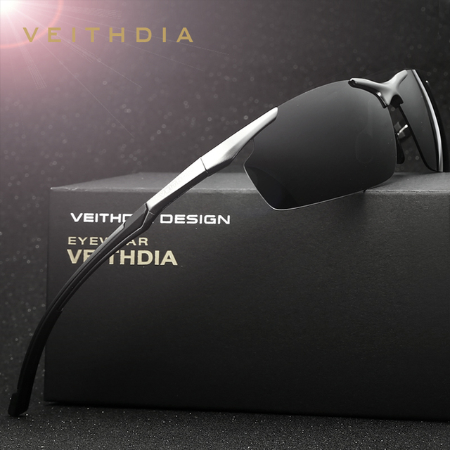 0527f540e3a7b VEITHDIA Alumínio Magnésio Óculos de Sol dos homens da Marca HD UV400 oculos  Óculos de Sol