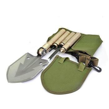 outdoors multifunctional Shovels Survival Tools Folding Military Shovels EDC Hunting Fishing Utility Shovel Spade with bag saw 1