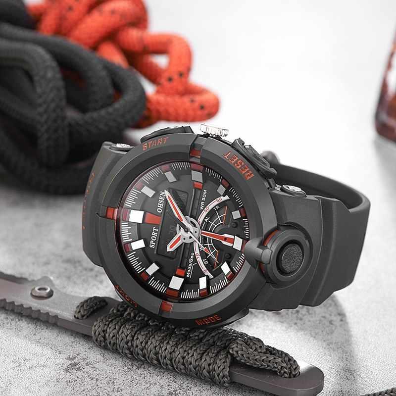 OHSEN Brand Men Waterproof Digital Quartz Wristwatch Rubber strap Red Outdoor Sport Military LCD Gift Watch Relogio Masculino
