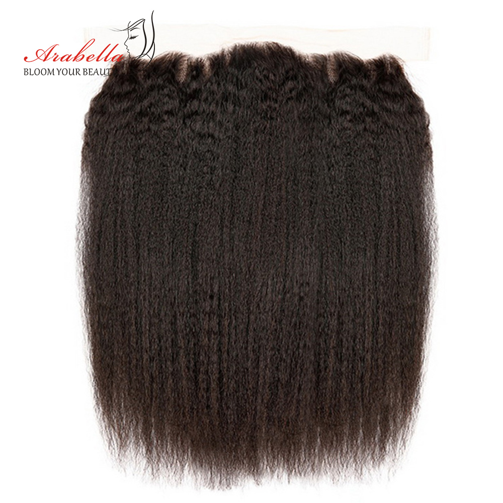 Arabella Brazilian Human Hair Yaki Hair 13*4 Lace Frontal Swiss Lace 10-22 Inch Remy Hair Weaving Free Part Natural Color front