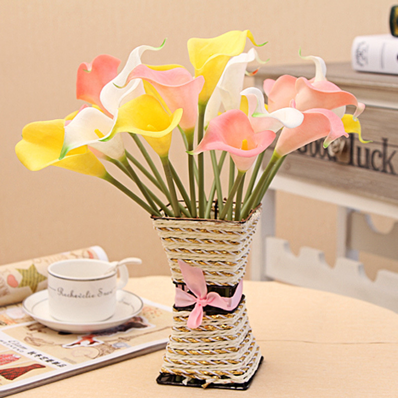 Free shipping calla lily corsage pu feel artificial for Artificial plants for interior decoration