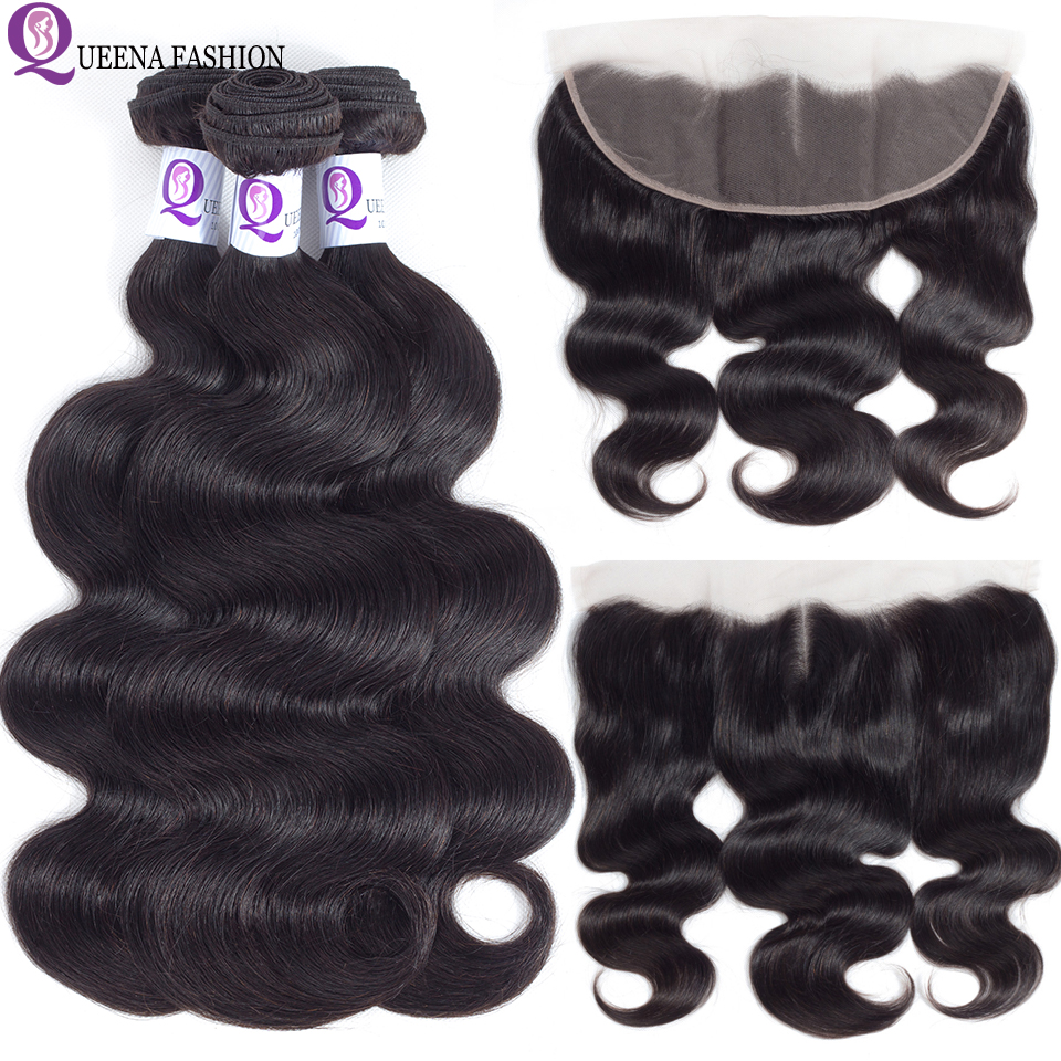 Transparent Preplucked Ear To Ear Lace Frontal Closure With Bundles Remy Brazilian Body Wave Human Hair Bundles With Frontal