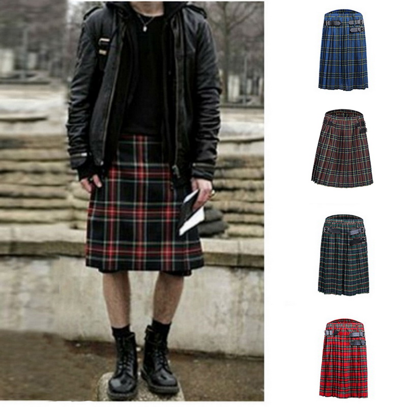 CYSINCOS HOT Scottish Mens Kilt Traditional Plaid Belt Pleated Bilateral Chain Brown Gothic Punk Tartan Men Trousers Skirts 2020