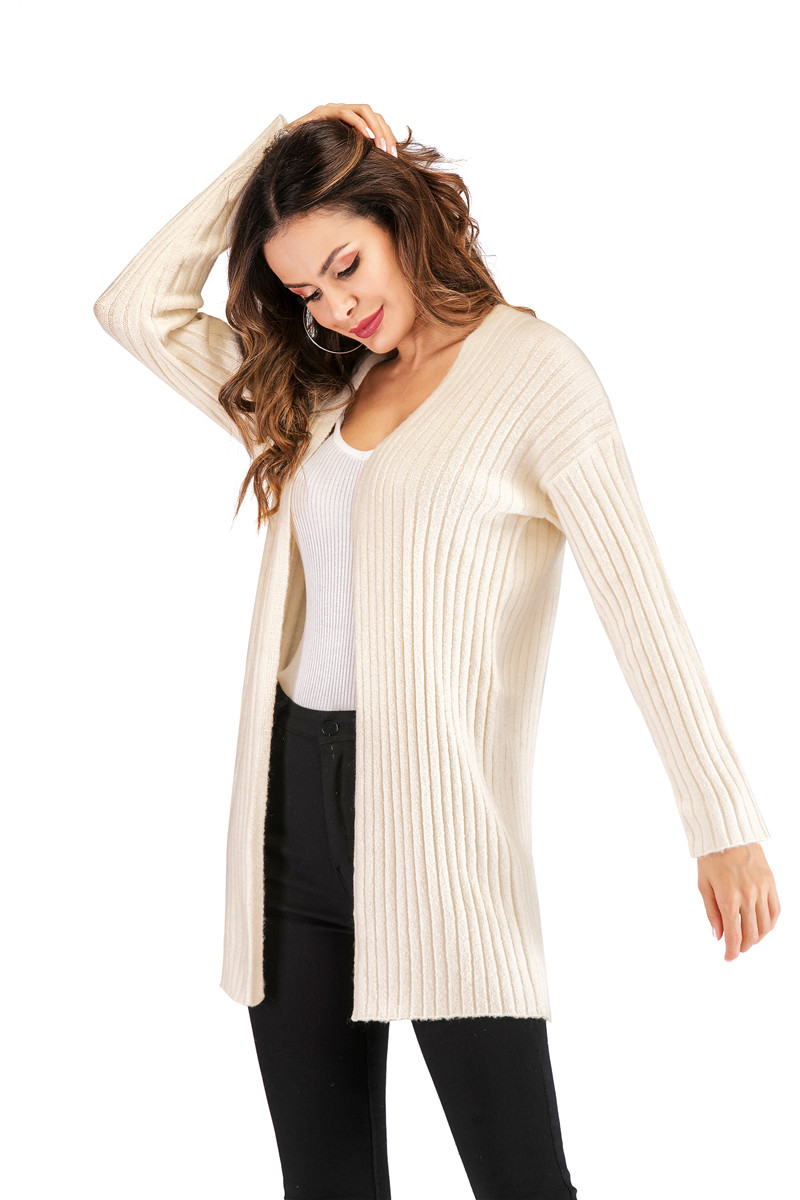 Fall Winter Cute Knitted Middle Long Ribbed Cardigan Dress for Women Kawaii Ladies Knit Drop Shoulder Sweater Coat Oversized S-L 17