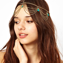 Fashion National Wind Waves Bohemia Blue Resin Stone Pendant Multi-layer Chain Boho Hair Hoop Head Hoop Hair Ornaments For Women
