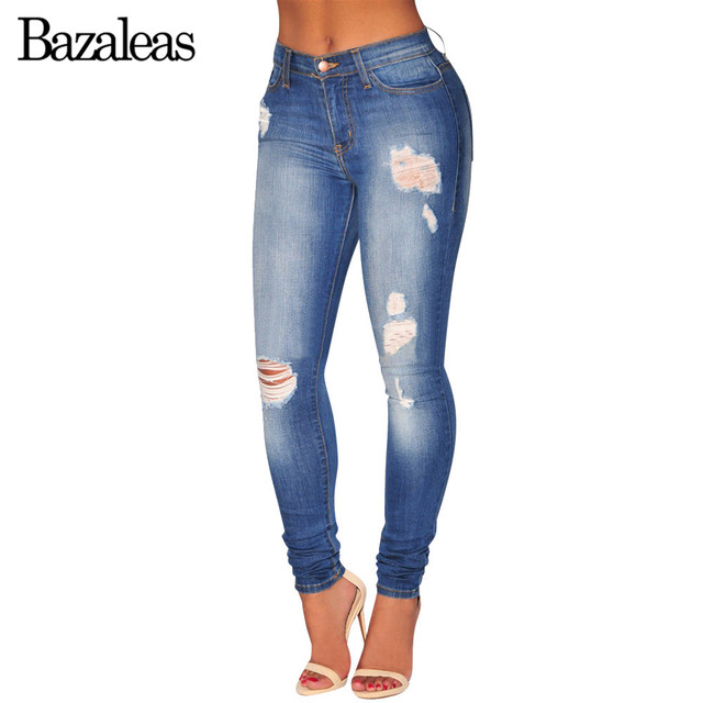 Women 2017 Summer Style Vintage Bleached Jeans Blue High Waist Ripped Pants Thin Jean