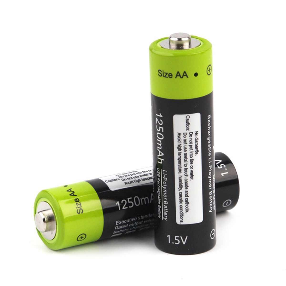 ZNTER 単三充電式バッテリー 1.5V 1250 2600mah の usb 充電式電池リチウムイオン蓄電池デジタルカメラリモートコントロール
