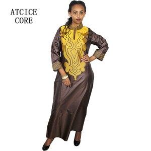 Image 5 - 스카프와 아프리카 부드러운 소재 디자인 드레스 자수 디자인 긴 드레스