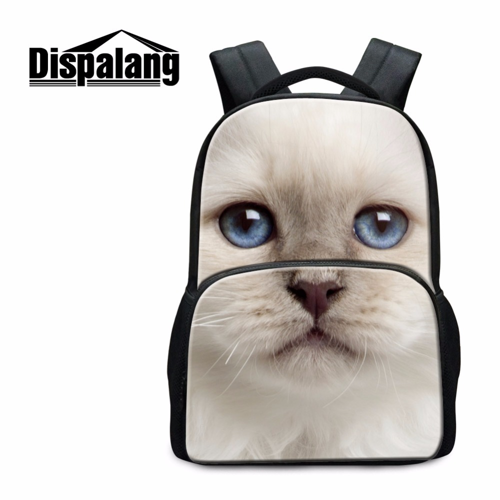 Dispalang high quality school bags for college students white cat panda school backpack men's travel bagpack 3D animal schoolbag dispalang custom design gorilla owl school backpacks for college students 17 inch felt backpack large capacity men school bags