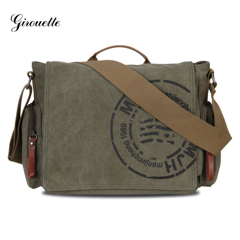 GIROUETTE Messenger Bag Men's Shoulder Bag Vintage Canvas Messenger Bag Men Leather Crossbody Bag Printing Travel Handbag augur men s messenger bag multifunction canvas leather crossbody bag men military army vintage large shoulder bag travel bags