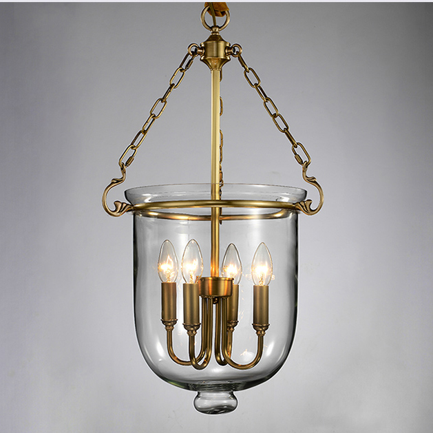 American Country 100% Copper Glass Pendant Lights Fixture Pastoral Droplight Home Indoor Dining Room Restaurant Club Foyer Lamp