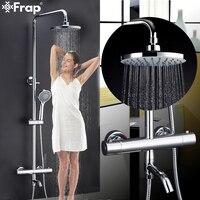 Frap Shower Thermostatic Faucet Shower Faucets Bathroom Bath Shower Mixer Set Waterfall Rain Shower Head Set Bathtub Faucet Tap