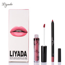 Beauty Matte Liquid Liyada Lipstick Lip Liner Makeup Cosmetic Waterproof Long lasting kilie lip Gloss Brand Batom Maquiage(China)